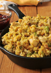 Cornbread stuffing with turkey bits