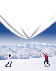 Two winter woman pulling big banner