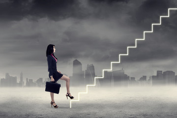 Woman walking up on stairs 3