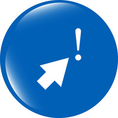 computer button with arrow and exclamation mark, isolated