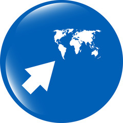 arrow sign icon with world map sign. Arrows symbol