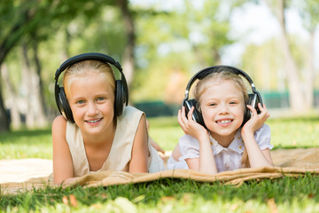 Girls enjoying music