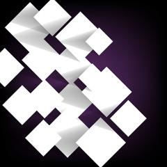 Paper square banner on violet background