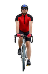 Cyclist riding on a road bike isolated on white
