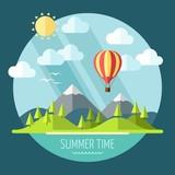 Summer landscape in flat style - vector illustration