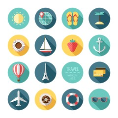 Travel and tourism flat icons set. Vector illustration