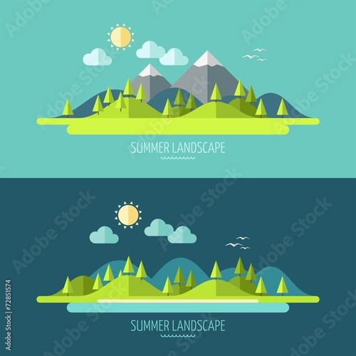 Poster Groen blauw Flat design nature landscape