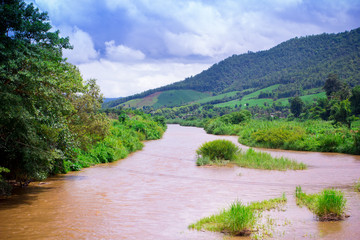 Natural scene of river and mountain in Chiangmai, Thailand