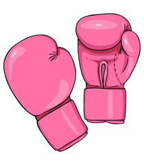Vector Cartoon Pink Boxing Gloves