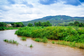 Natural scene of river and mountain in Chiagmai, Thailand