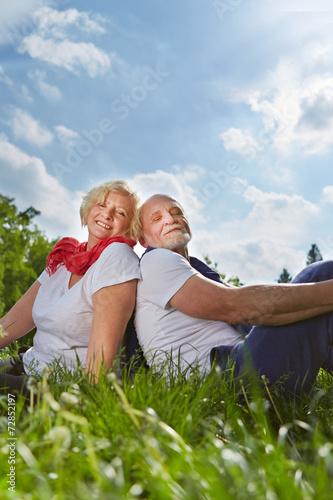 canvas print picture Senioren sitzen auf Wiese im Garten