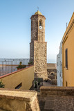 Bell tower of Cathedral Sant Antonio Abate in Castelsardo poster