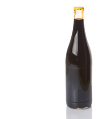 A bottle of soy sauce over white background