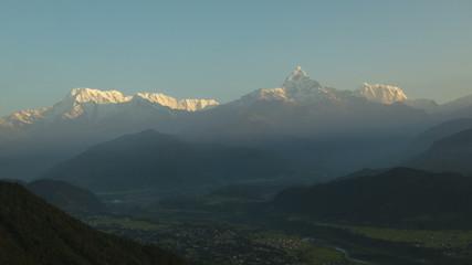 Nepal Himalaya Anapurna mountain range sunrise time lapse