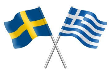 Flags: Sweden and Greece