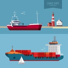 Transportation concept illustration - cargo ships