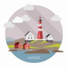 Flat lighthouse on the landscape