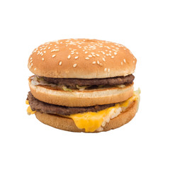 Hamburger with cheese leaking