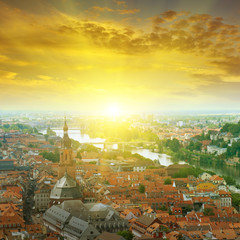 city  and sunrise