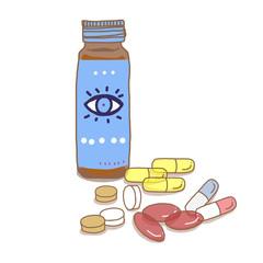 健康ドリンクと錠剤