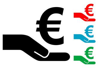 Pictograma crowdfunding euro con varios colores