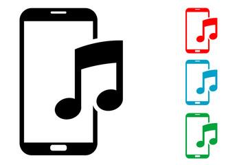 Pictograma musica smartphone con varios colores