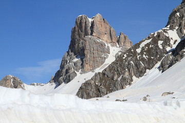 Dolomites alps covered with snow, Italy