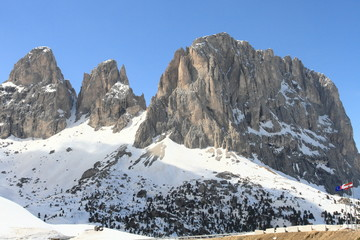 Dolomites alps viewed from Sella Pass, Italy