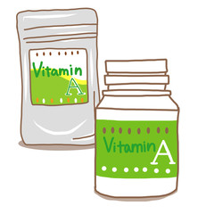 ビタミンAサプリメントボトルとケース