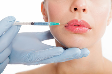 close up botox shot in the female lips