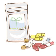 健康サプリメントと錠剤