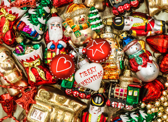 colorful christmas baubles, toys and ornaments