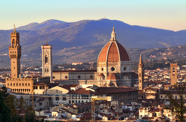 Sunset over Palazzo Vecchio and Duomo, Florence, Italy