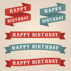 A vector set of retro style Happy Birthday banners
