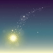 Fairy shooting star. Abstract background