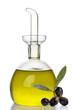 oliera ampolla olio e olive sfondo bianco