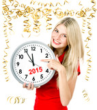 young woman with big clock and party decoration. partytime 2015
