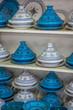 Leinwanddruck Bild - Tajines in the market, Marrakesh,Morocco