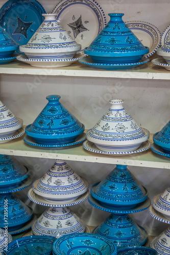Leinwanddruck Bild Tajines in the market, Marrakesh,Morocco