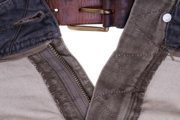 Open zip fly pants men. Close-up.