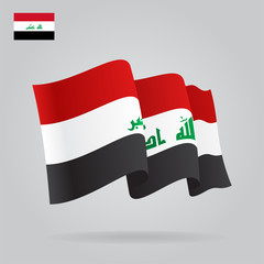 Flat and waving Iraqi Flag. Vector