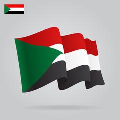 Flat and waving Sudan Flag. Vector