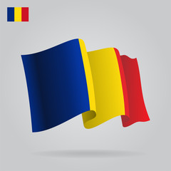 Flat and waving Romanian Flag. Vector