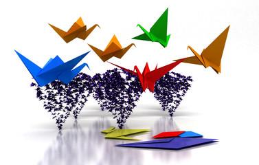 origami, gru, uccelli, carta, 3d