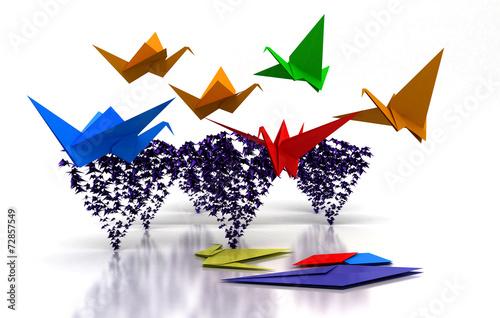 Deurstickers Geometrische dieren origami, gru, uccelli, carta, 3d