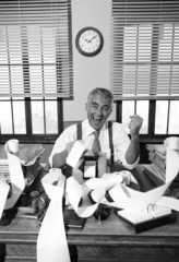 Vintage accountant giving good news