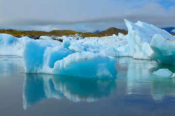 The blue icebergs and ice floes