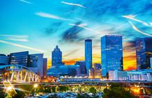 "Постер, картина, фотообои ""Downtown Atlanta at night time"""