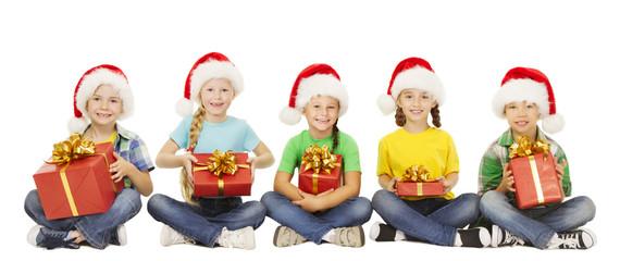 Christmas Kids, Present Gift Box, Children in Santa Red Hat