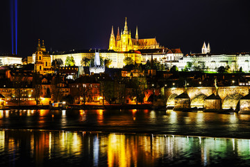 Old Prague cityscape with the Charles bridge